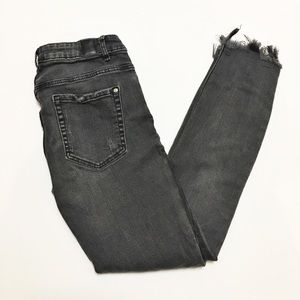 Zara Trafaluc Black Frayed Hem Skinny Jeans